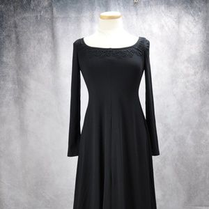 Embroidered Suede Blend  Long Sleeve Maxi Dress